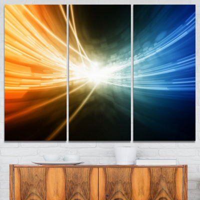 Designart Glowing Blue Yellow Lines Abstract Canvas Art Print - 3 Panels