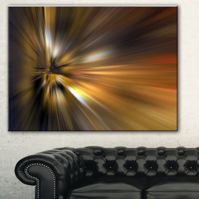 Designart Glowing Brown Focus Light Large AbstractArt - 3 Panels