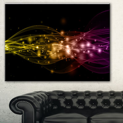 Designart Glowing Circles And Lines Abstract Canvas Art Print - 3 Panels