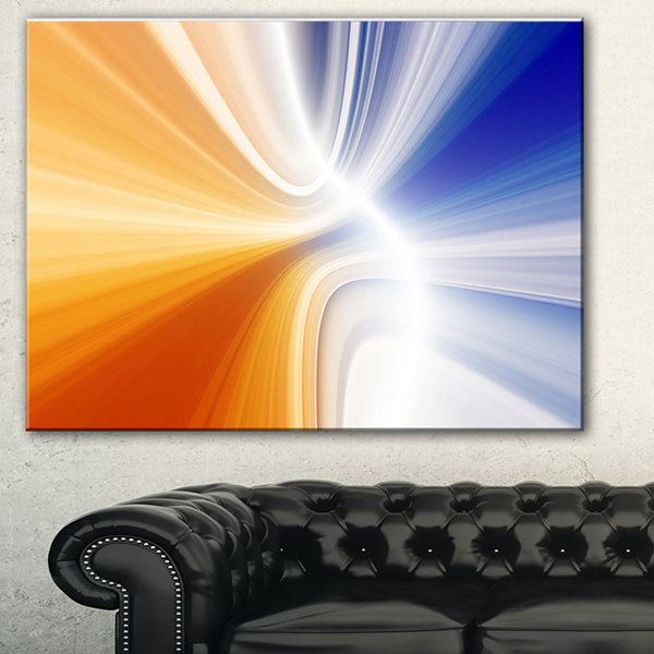 Designart Glowing Colored Lines Abstract Canvas Art Print - 3 Panels