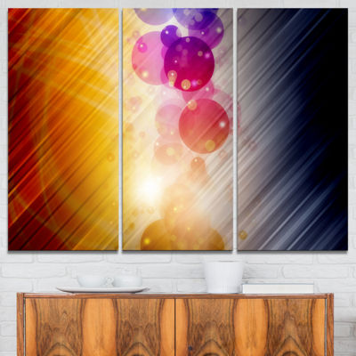Designart Glowing Colored Spheres Abstract CanvasArt Print - 3 Panels