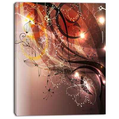 Designart Glowing Flowers In Brown Abstract CanvasArt Print