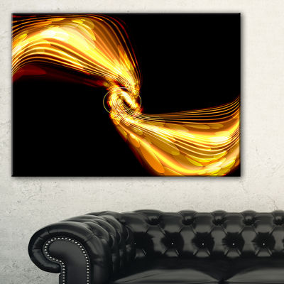 Designart Glowing Golden Lines And Circles LargeAbstract Art - 3 Panels