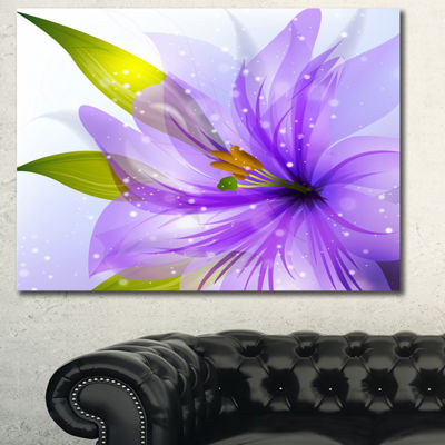 Designart Glowing Lily Flower Floral Canvas Art Print - 3 Panels