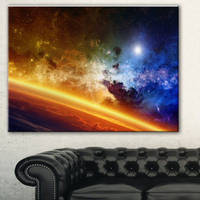 Designart Glowing Planet Spacescape Canvas Art Print - 3 Panels