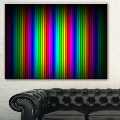 Designart Glowing Rainbow Lines Abstract Canvas Art Print