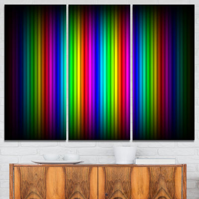 Designart Glowing Rainbow Lines Abstract Canvas Art Print - 3 Panels