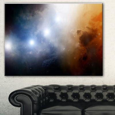 Designart Glowing Sky Spacescape Canvas Art Print-3 Panels