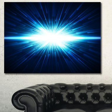 Designart Glowing Space In Dark Blue Abstract Canvas Art Print