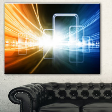 Designart Glowing Squares And Lines Abstract Canvas Art Print