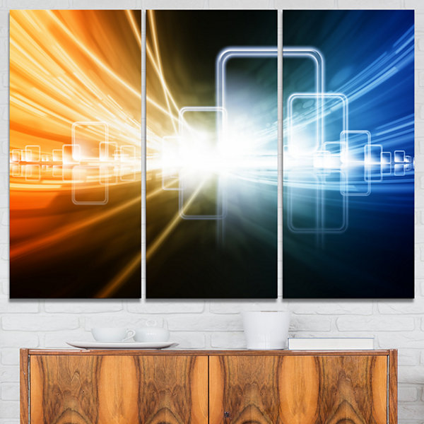 Designart Glowing Squares And Lines Abstract Canvas Art Print - 3 Panels