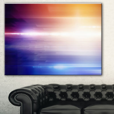 Designart Glowing Straight Lines Abstract CanvasArt Print - 3 Panels