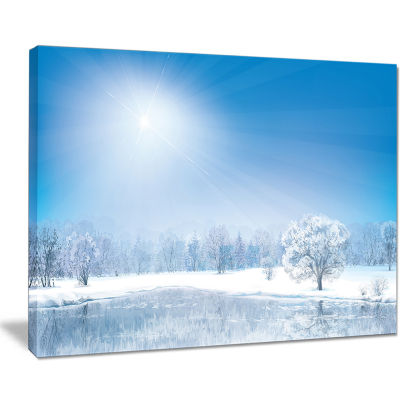 Designart Glowing Winter Sun Landscape PhotographyCanvas Art Print