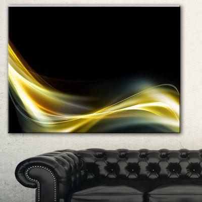Designart Gold In Black Upward Lines Abstract Canvas Art Print - 3 Panels