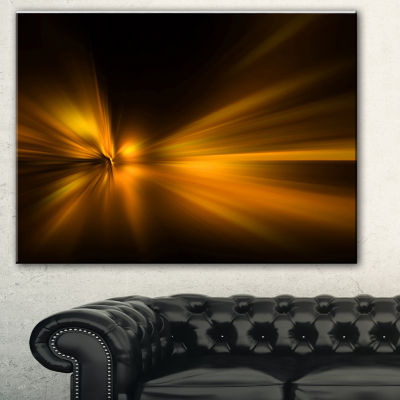 Designart Gold Light Over Dark Pattern Abstract Canvas Art Print - 3 Panels