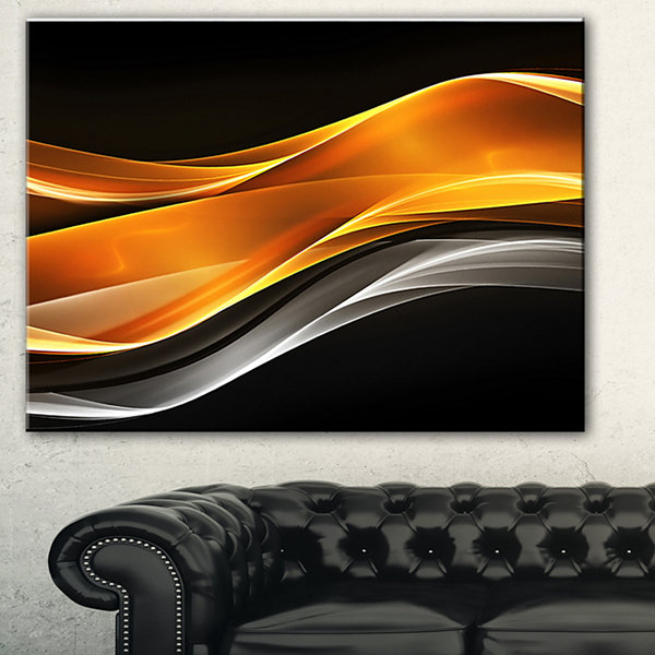 Designart Gold Pink Inward Waves Abstract CanvasArt Print - 3 Panels