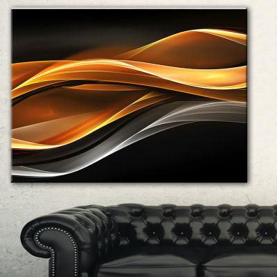 Designart Gold Silver Inward Lines Abstract CanvasArt Print - 3 Panels