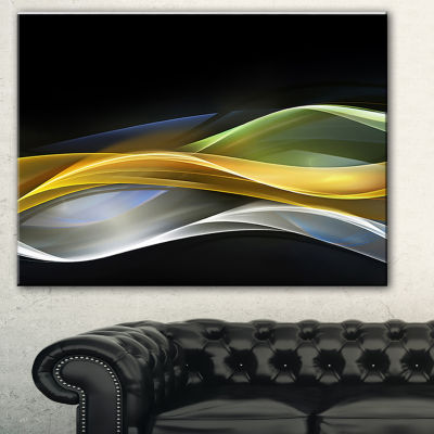 Designart Gold Silver Straight Yellow Lines LargeAbstract Art - 3 Panels