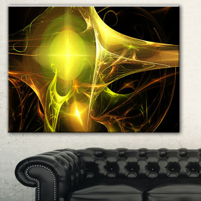 Design Art Golden Bright Candle Abstract Canvas Art Print