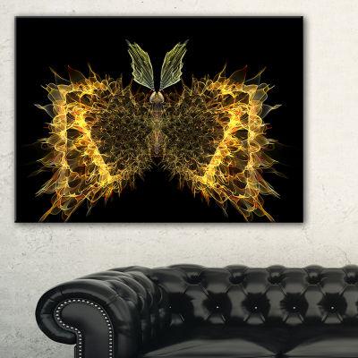Designart Golden Fractal Butterfly In Dark Abstract Canvas Art Print - 3 Panels