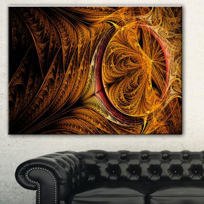Designart Golden Fractal Desktop Large Abstract Art