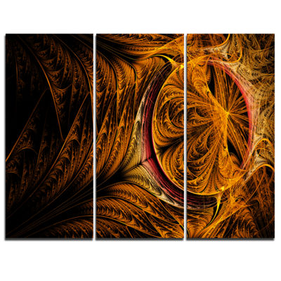 Designart Golden Fractal Desktop Large Abstract Art - 3 Panels