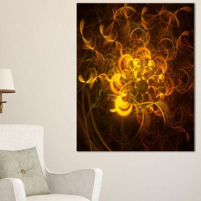 Designart Golden Fractal Flower In Dark Floral Canvas Art Print - 3 Panels