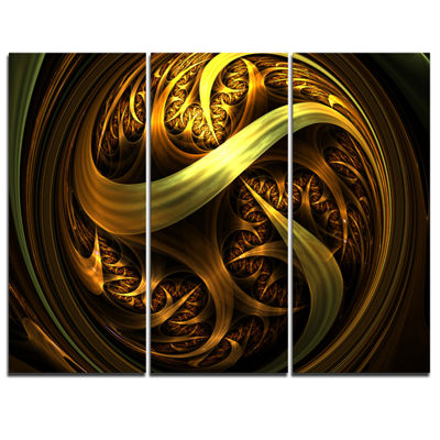 Designart Golden Fractal Sphere In Dark AbstractCanvas Art Print - 3 Panels