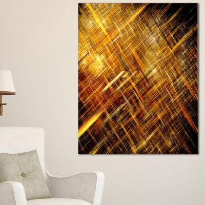 Designart Golden Mosaic Texture Abstract Canvas Art Print - 3 Panels