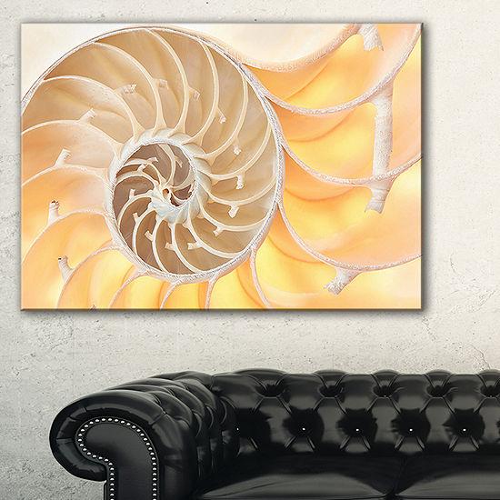 Designart Golden Nautilus Shell Pattern AbstractCanvas Art Print