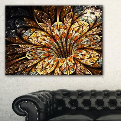 Designart Golden Shiny Fractal Flower Floral ArtCanvas Print
