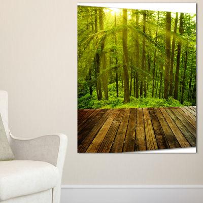 Designart Golden Sunlight In Pine Forest LandscapePhotography Canvas Print - 3 Panels