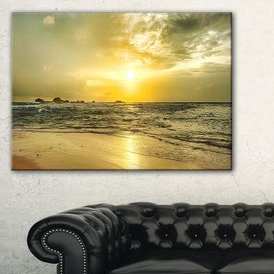 Designart Golden Sunset Over Sea Seashore Photography Canvas Print - 3 Panels