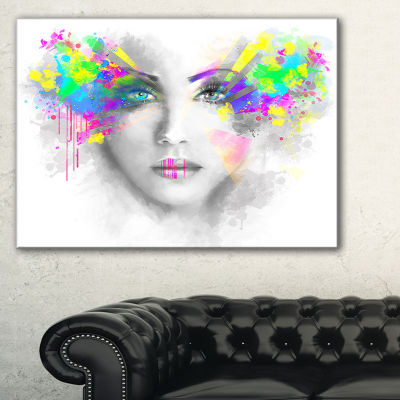 Design Art Gray Woman With Green Flowers AbstractPortrait Canvas Print