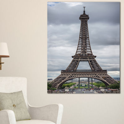 Designart Grayscale Paris Eiffel Tower CityscapePhotography Canvas Print