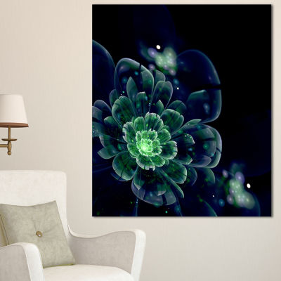 Designart Green Abstract Fractal Flower Floral ArtCanvas Print