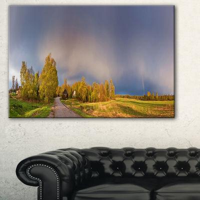 Designart Green Field Under Rainbow Sky LandscapePhotography Canvas Print