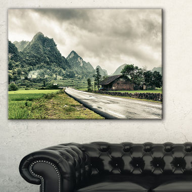 Design Art Green Rural Village Landscape Photography Canvas Art Print