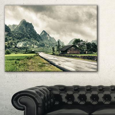 Designart Green Rural Village Landscape Photography Canvas Art Print - 3 Panels