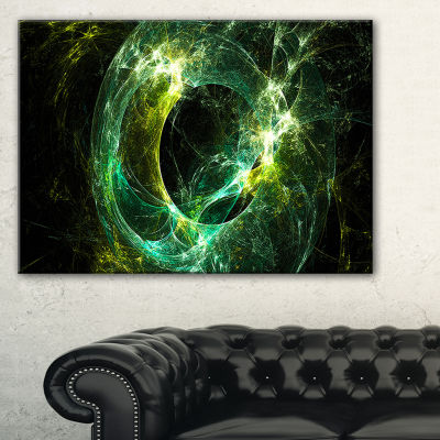 Designart Green Sparkling Lightning Abstract Canvas Art Print - 3 Panels