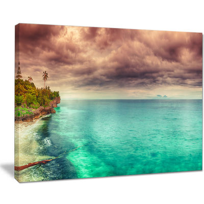 Designart Green Sunset Panorama View Seascape Photography Canvas Art Print