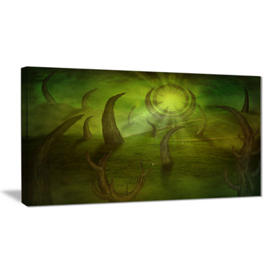 Designart Green Time Travel Abstract Canvas Art Print