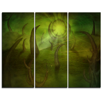 Designart Green Time Travel Abstract Canvas Art Print - 3 Panels