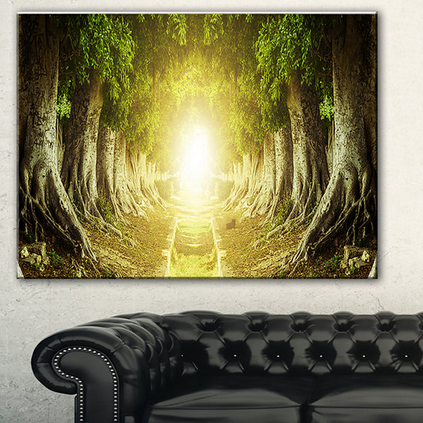 Designart Green Tree Tunnel Landscape Photo CanvasArt Print