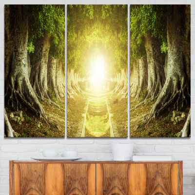 Designart Green Tree Tunnel Landscape Photo CanvasArt Print - 3 Panels