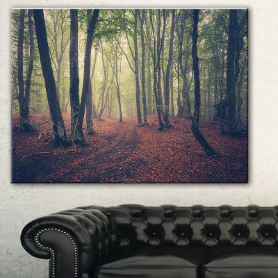 Designart Green Trees In Autumn Forest Landscape Photography Canvas Print - 3 Panels