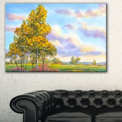 Design Art Green Trees In Evening Landscape Photography Canvas Art Print