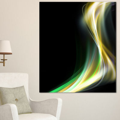 Designart Green Yellow Light Art Abstract CanvasArt Print - 3 Panels