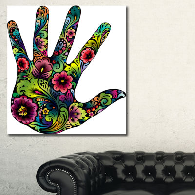 Designart Hand In Flowers Floral Art Canvas Print-3 Panels