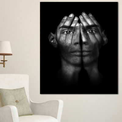 Designart Hands Covering Eyes Abstract Canvas ArtPrint - 3 Panels